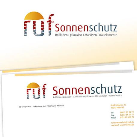 Ruf Sonnenschutz | Logodesign & Geschäftsausstattung | Gestaltung & Druck